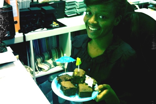 33, birthday brownies at work.