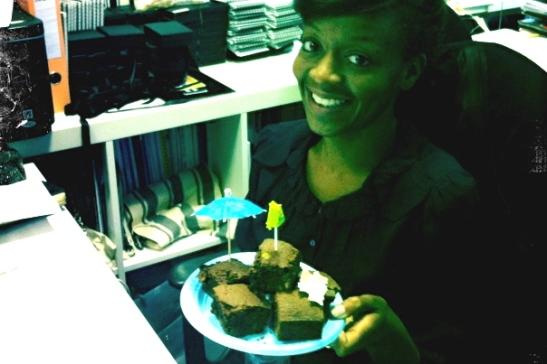 33, birthday brownies at work.
