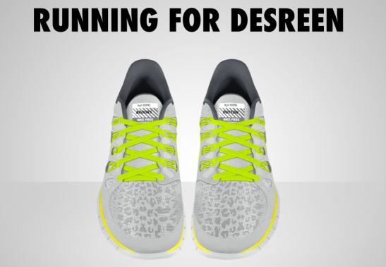 My London Marathon trainers are dedicated to Desreen