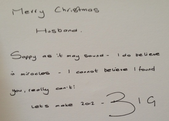 The contents of my last ever Christmas card from my wife