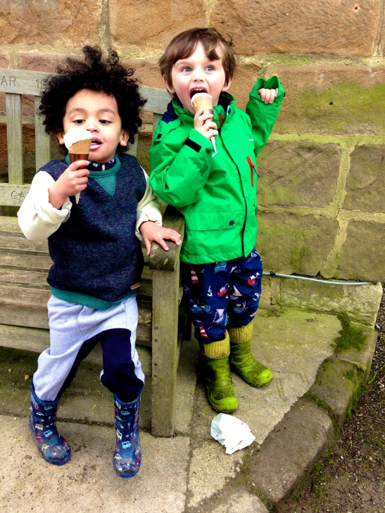 Jackson and Albie shortly after Puddlegate and just seconds before the Ice Cream Saga